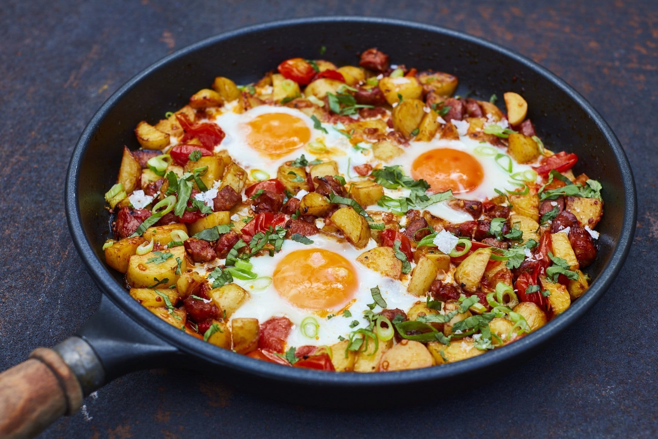 Eggs on Fried Potatoe and Tomato by Maldon Salt & Udo Reichelt-Schaurer